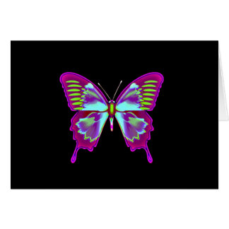 Glowing Butterfly on Black Background Card