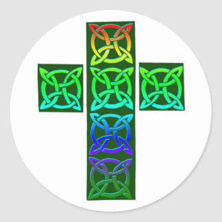 Glowing Celtic Cross Classic Round Sticker