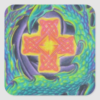 Glowing Celtic Cross Square Sticker