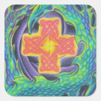 Glowing Celtic Cross Square Sticker