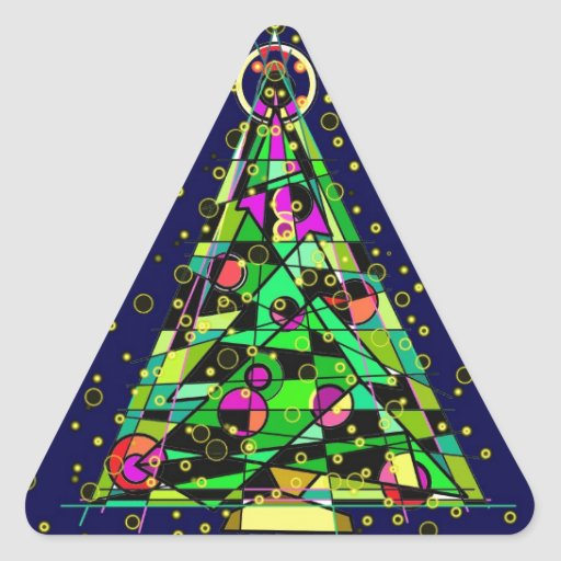 Glowing Christmas Tree. Triangle Sticker