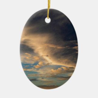 Glowing clouds ceramic oval ornament