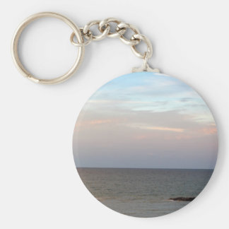 Glowing clouds over the Adriatic Sea in Italy. Basic Round Button Keychain