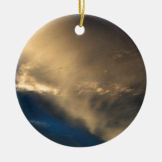 Glowing clouds round ceramic ornament