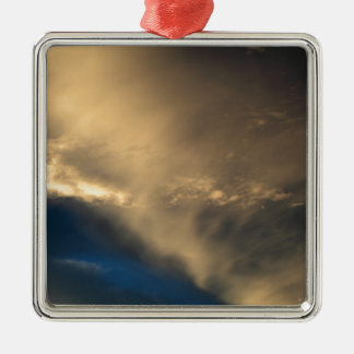 Glowing clouds Silver-Colored square ornament