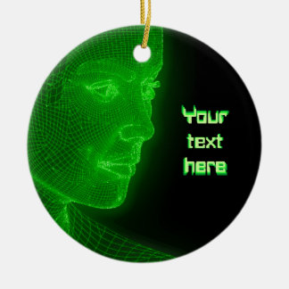 Glowing Cyberspace Cyberwoman - customizable text Ceramic Ornament