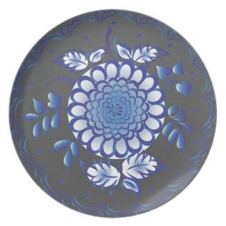 Glowing Dark Blue Flower Dinner Plate