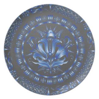 Glowing Dark Blue Plates