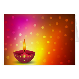 Glowing Decorative Diwali Lamp Card