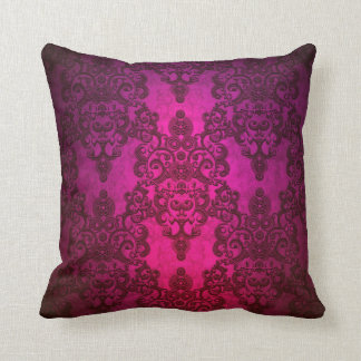 Glowing Deep Pink Damask Pattern Throw Pillow
