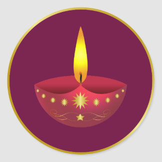 Glowing Diwali Lamp Classic Round Sticker