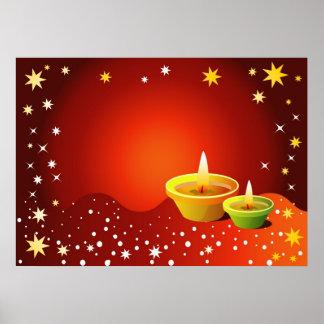 Glowing Diwali Lamps Poster