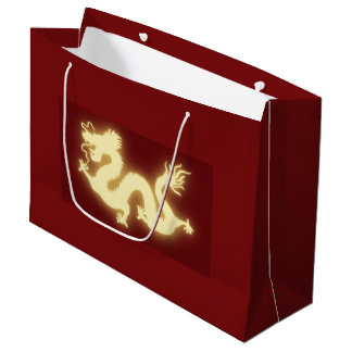 Glowing Electric Chinese Dragon Dark Red Gift Bag