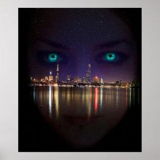 Glowing eyes skyline poster