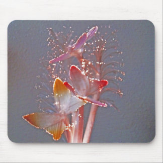 Glowing Fiber Optic Butterflies Mouse Pad