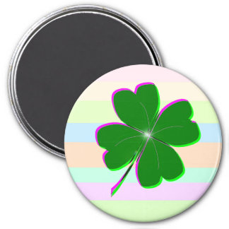 Glowing Four Leaf Clover 3 Inch Round Magnet