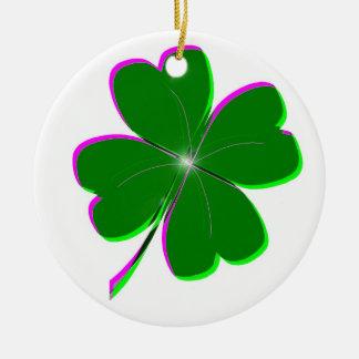 Glowing Four Leaf Clover Ceramic Ornament