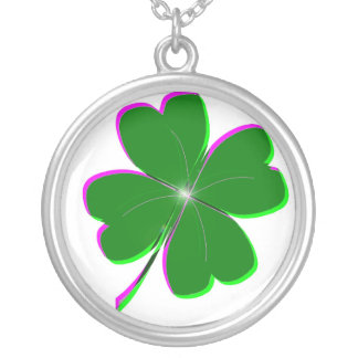 Glowing Four Leaf Clover Silver Plated Necklace