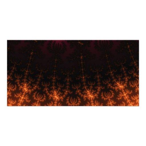 Glowing Fractal Dusk - gold, black and fuschia Custom Photo Card