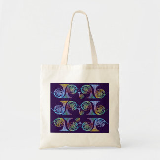 Glowing French Horns on Plum Tote Bag