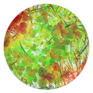 Glowing Garden Art Photo Plastic Picnic Wall Decor Plate