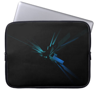 Glowing Geometry of Blue And Green Laptop Sleeve