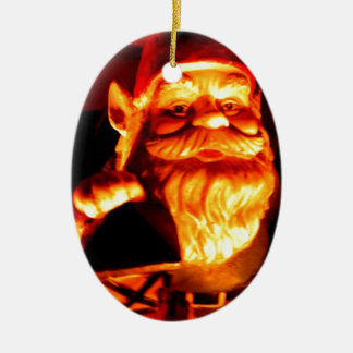 Glowing Gnome Ceramic Oval Ornament