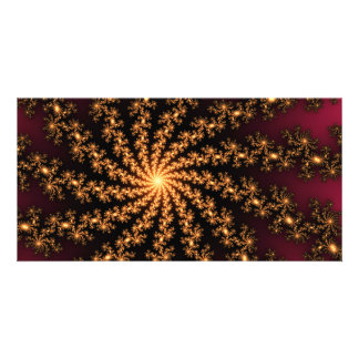 Glowing Golden Fractal Explosion on Burgundy Photo Card