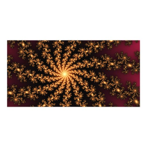 Glowing Golden Fractal Explosion on Burgundy Photo Card Template