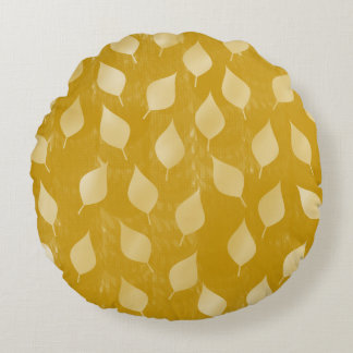 Glowing Golden Leaves Round Pillow
