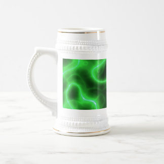 Glowing Green Abstract Electricity 18 Oz Beer Stein