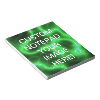 Glowing Green Abstract Electricity Notepad