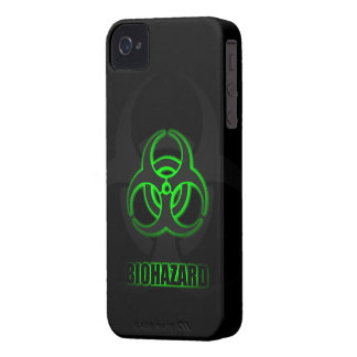 Glowing Green Biohazard Symbol Case-Mate iPhone 4 Cases