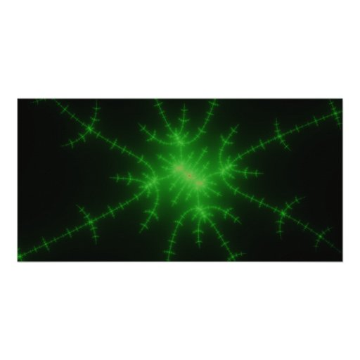 Glowing Green Fractal Explosion Picture Card