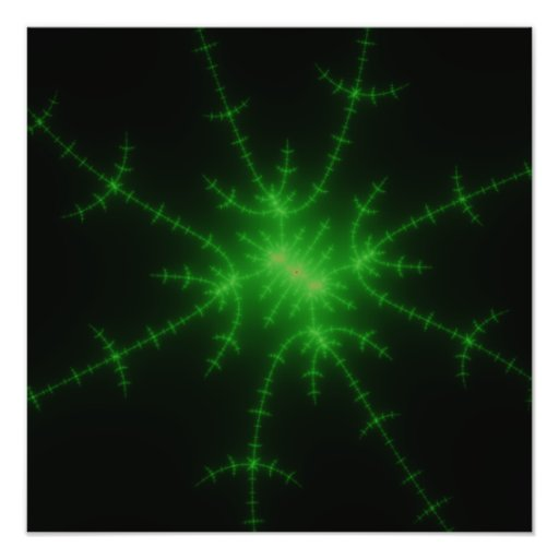 Glowing Green Fractal Explosion Photograph
