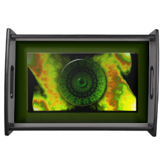 Glowing Green Luminosity Small Serving Tray, Black Serving Tray
