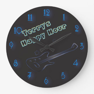 Glowing Guitar Neon Sign Personalized Happy Hour Wallclocks
