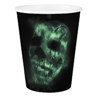 Glowing Halloween Skull in Green Paper Cup