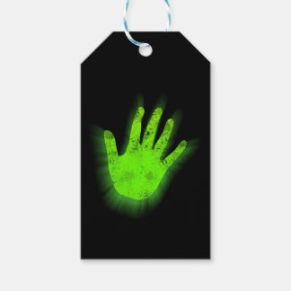 Glowing hand print. pack of gift tags