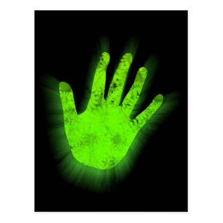 Glowing hand print. postcard