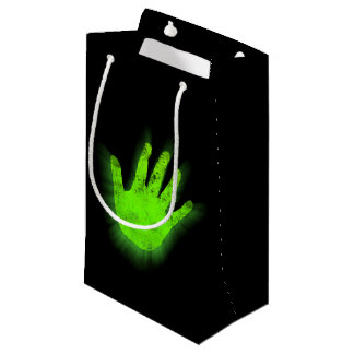 Glowing hand print. small gift bag