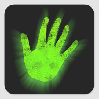 Glowing hand print. square sticker