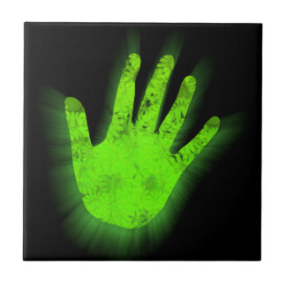 Glowing hand print. tile