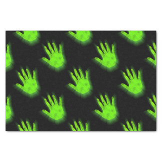 Glowing hand print. tissue paper