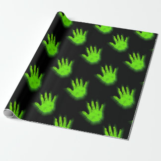 Glowing hand print. wrapping paper