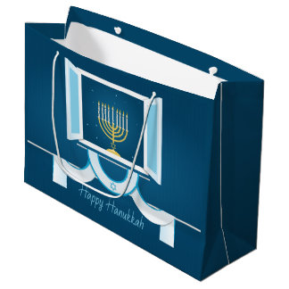Glowing Hanukkah Lights Large Gift Bag