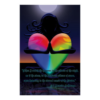 Glowing Heart Namaste pose Poster