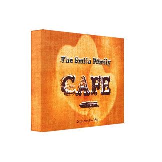Glowing Hearts Family Name Cafe Canvas Print
