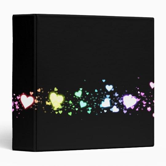 "Glowing Hearts on Black 1.5"" Binder"