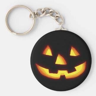 Glowing jack o lantern basic round button keychain